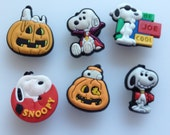 Halloween Charlie Brown Great Pumpkin Peanuts Snoopy Joe Cool 6pc Shoe Charms Cake Toppers Birthday Party Pack, Locker Magnets Zipper Pull
