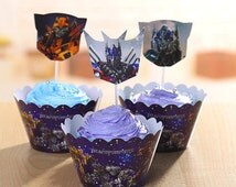 SALE Back2School Like Transformers Robots Inspired Cupcake Wrappers and Cake Toppers Picks Birthday Party Decorations (Set of 12)