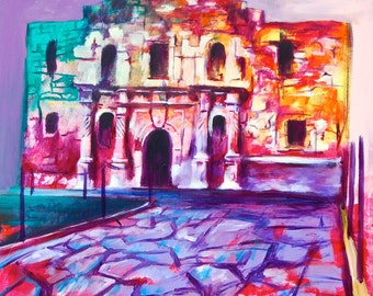 The Alamo San Antonio Texas Giclee Canvas Landmark Print Wall Art Colorful Abstract Pop Art