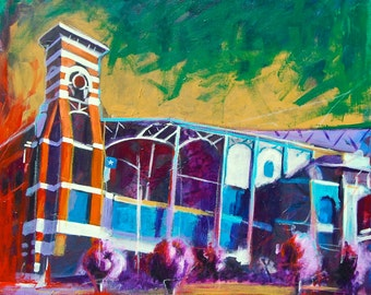 Minute Maid Park Texas Giclee Canvas Landmark Print Wall Art Colorful Abstract Pop Art