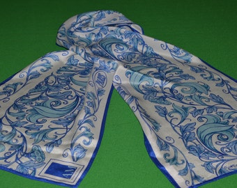 Scarf Anne Mcalpin CollectionGreat Cities Paris White Blue