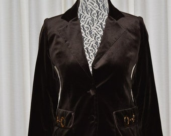 Jacket by Iceberg Gilmar Dark Brown Chocolate  Velvet Women's Italy