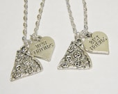 2 Pizza Heart Best Friend Necklaces BFF SISTERS COUPLES