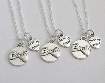 3 Best Friends Pinky Promise Necklaces, 3 Best Friends Jewelry, 3 BFF Necklaces, 3 Best Friends Necklaces