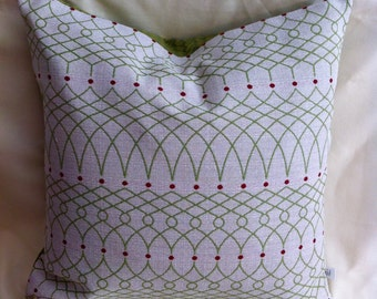 Pair of Unique Christmas Pillow Covers-Green and White-20x20 or 12x20 Inch-Accent Pillow-Free shipping
