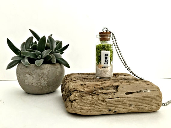 Gift Guide for Nature Lovers - International Shipping. BOGO sale.. Marimo Terrarium necklace with turquoise pebbles- glass vial pendant. Aquatic pendant. Unique living nature gift.