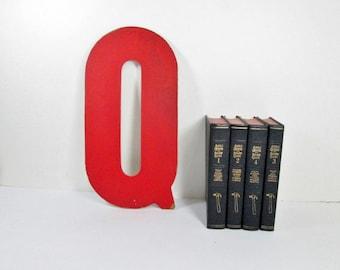 Industrial Letter Q, 13 Inch, Vintage Red Sign Letter Q
