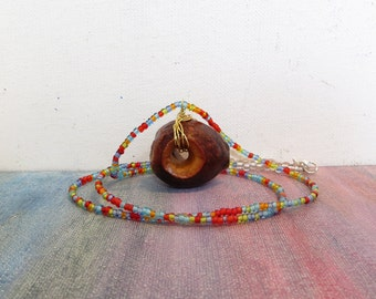 Wood and Copper Avocado Necklace with Beaded Chain - Hole Through a Whole Avocado Seed - Varnished Pit