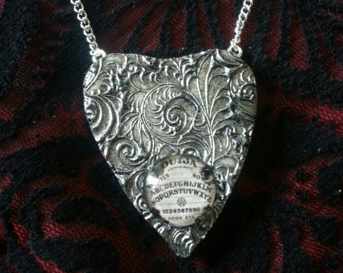 Stunning hand crafted Ouija Planchette necklace Silver