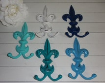 SUMMER SALE CHOOSE Color / Decorative Hook / Fleur De Lis Decor / Cast Iron Hook / Shabby Chic / Jewery Organizer