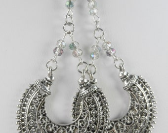 Tibetan Charms with Aurora Borealis Crystal Earrings - Sterling Silver Leverbacks - 3.5 inch length