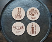 Leather Coasters – Chicago Gift – Chicago Coasters – Laser Engraved