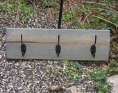 Rustic Farmhouse Coat Rack Grey Stain 3 Black Hooks Handmade Ready to Ship