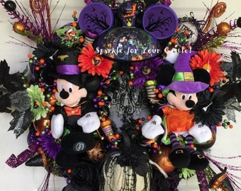 Mickey Minnie Halloween Wreath, Disney Halloween Plush, Halloween Wreath, Disney Wreath