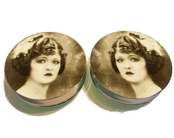 Laura La Plante Plugs sizes 2g - 2 Inches Double Flare or Single Flare