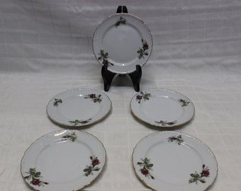5-Piece Set | Floral Themed Serving Plates w/ Gold Trim