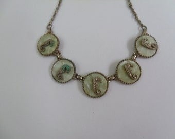 Vintage Seahorse & Mother of Pearl Necklace