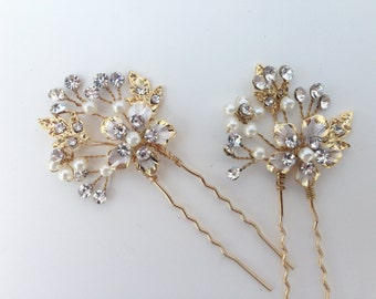Pearl And Crystal Bridal Hairpin Set, Wedding Hairpins, Swarovski Crystal,  Pearl Hairpins, Crystal Hairpins, Bridal Hair Pins, Hair Vine