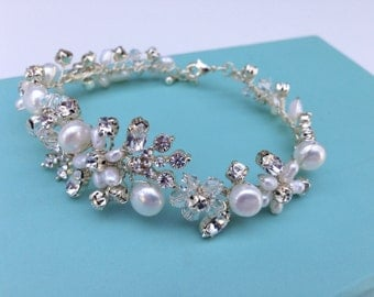 Beaded Bridal Bracelet With Swarovski Crystals And Freshwater Pearls, Wedding Bracelet