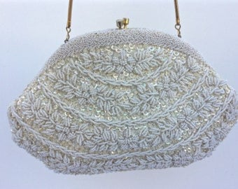Ivory Vintage Beaded Evening Bag, Bridal Purse, Clutch, Bridal Clutch, Wedding Clutch