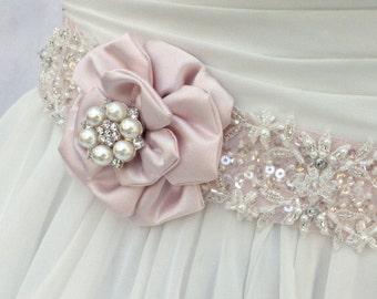 Bridal Sash, Wedding Sash in Blush Pink & Ivory With Beaded Lace, Crystals And Pearls, Bridal Belt, Wedding Dress Sash, Flower Sash