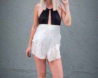 high waist shorts / silk shorts / 20s shorts / lingerie shorts / 20s lingerie / lace lingerie
