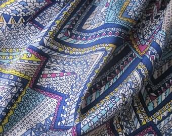 SALE -Purple & Blue Geometric Print Peachskin - Retro Print Fabric - 1940s Style Fabric - Vintage Style Fabric
