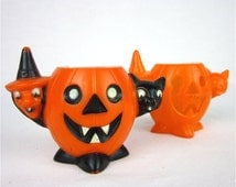Vintage E Rosen Halloween Candy Container and Noise Maker, 1950s