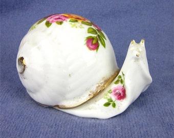 Vintage Snail Candle, Bone China
