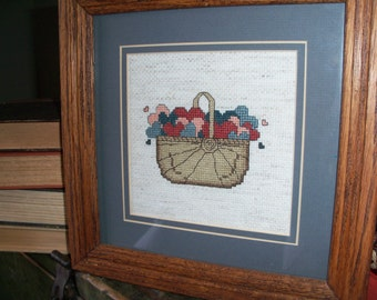 Vintage Handmade Cross Stitch Needlepoint Basket of Hearts Country Wall Art Framed