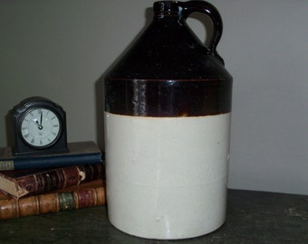 Antique Stoneware Pottery Crock Jug Two Toned Brown Large Rustic Farmhouse