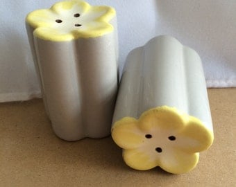 Grey and yellow flower salt and pepper vintage shakers