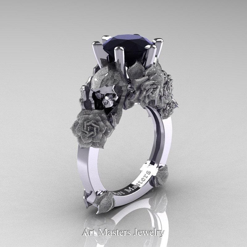 Love and Sorrow 14K White Gold 3 0 Ct Black Diamond Skull and