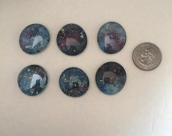 Hand Painted Glass Magnets- Small- Set of 6