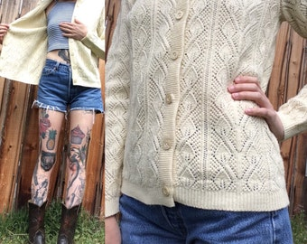 Vintage Cardigan // Cream Cardigan // 1960s Sweater