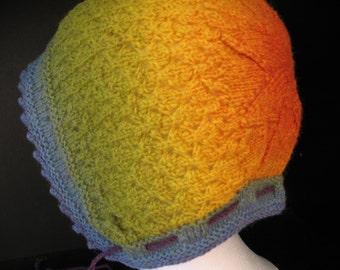 Rainbow Bonnet Hat Wool Adult Size Made in Vermont Kauni EQ Yarn from Denmark Festival Renaissance Fair Concert Hippie