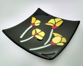 Fused Glass Plate - Yellow Poppies - Square Plate - Candle Holder - Sushi Dish - Sushi Plate - Decorative Dish  - Black Plate -Kitchen Decor