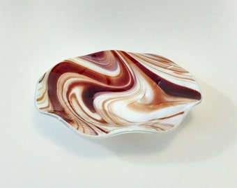 Fused Glass Bowl - Red White Swirl - Fused Glass Dish - Fruit Bowl - Decorative  Bowl - Serving Bowl - Wedding Gift - Centerpiece - Candy