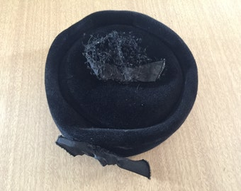 Vintage Black Pillbox-Style Hat - Deluxe Velour - from 1950s or 1960s