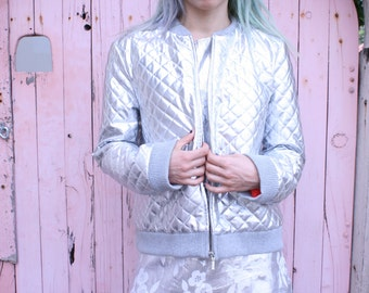 Metallic Silver Quilted Jacket