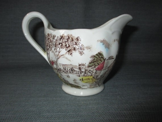 W.H. Grindley SUNDAY MORNING Creamer Pitcher Jug, Hand Tinted Brown Transferware (ca. 1930s)
