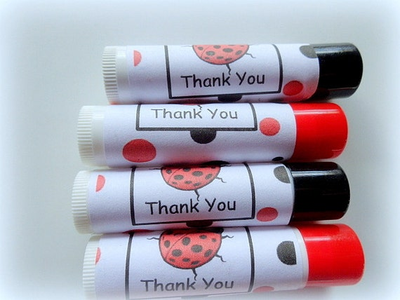 20 Lip Balm Party Favors, Lady Bugs, Love, Special Occasions