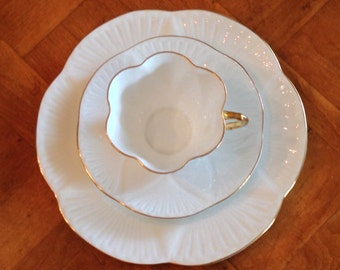 """Shelley """"Regency"""" English Bone China Teacup, Saucer and Salad Plate Trio for Shower, Tea Party, Luncheon"""