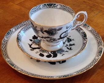Tuscan Royal Tuscan C9390 English Bone China Teacup, Saucer and Salad Plate Trio for Shower, Tea Party, Luncheon