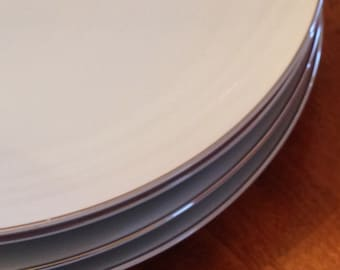 "Style House ""Platinum Ring"" - Set of Four Dinner Plates"