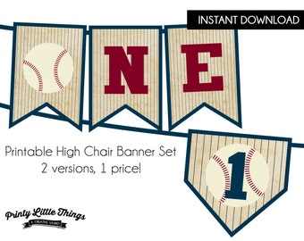 INSTANT DOWNLOAD - Vintage Baseball High Chair Banner Set