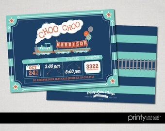 Train 'Choo Choo' Invitation - Printed