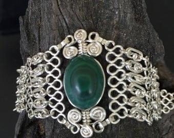 Malachite Bracelet!  Sterling silver bracelet!