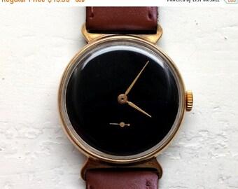 "Soviet watch ,Russian watch ,Gold watch , minimalist watch, Mens watch ,Mechanical watch ,black watch,classic watch ""Victory"""