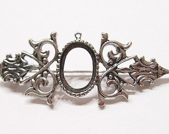 4 of 18x13 mm Antique Silver Pin Brooch or Pendant Old Style Settings, for Cameos, Cabs, Glass, Tile